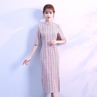 Fashion 2018 Modern Cheongsam Long Qipao Piank Women Hemp Dress Chinese Traditional Dresses China Clothing Store