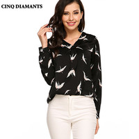 CINQ DIAMANTS Women Bird Print Top Shirt Long Sleeve Green Black Blouse Shirt High Quality Clothing