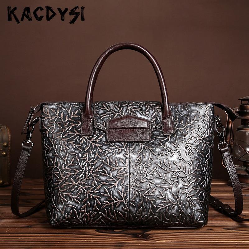Kacdysi 원래 암소 진짜 가죽 브러시 색상 양각 된 여성 핸드백 레트로 캐주얼 메시지 가방 단일 어깨 메신저 가방-에서탑 핸드백부터 수화물 & 가방 의  그룹 1