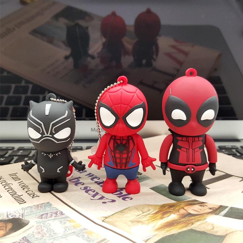 For Marvel Black Panther Spiderman Deadpool USB 2.0 Pen Drive Memory stick pendrive 4GB 8GB 16GB 32GB 64GB USB Flash Drives