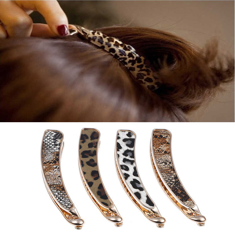 M MISM 1PC Fashion Sexy Leopard Pattern Hairpins Acrylic Serpentine Pattern Banana Clip Women Girls Barrettes Hair Accessories