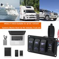 12/24v Car Charger panel switch Dual Light Switch 3 Switch + Rear Lights /LED Light Bar/ Off road Light 3.4A r30