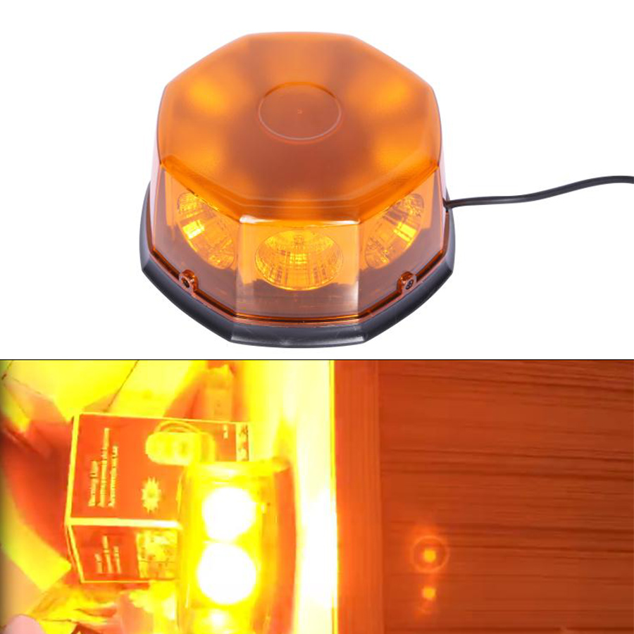 8 PCS COB LED Amber Strobe Light for Car Magnetic Flashing Lights Yellow Red lights Warning Flashing Light LED Beacon Lamp 8 led flashing yellow light caution warning lamp with magnetic mount holder