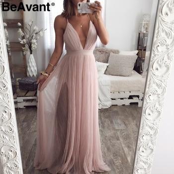 f3cf122bac77 BeAvant elegante vestido de encaje de verano rosa para mujer vestidos de  fiesta de noche sexis para damas cuello en V vestido de malla de cintura  alta ...
