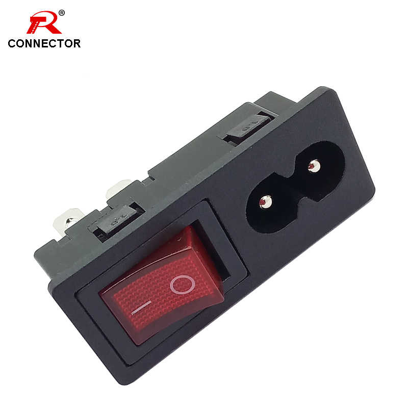 1pc Power Rocker Switch & Socket Connector, Switch with 3 Pin or 4 Pin, Panel Mount Power Adapters