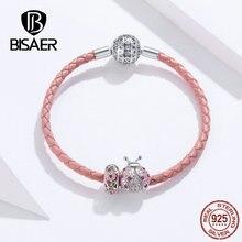 2019 Kadın Bilezik BISAER 925 Ayar Gümüş Uğur Böceği kırmızı halat Gümüş Bilezikler Kadınlar için Gümüş Takı ECB823