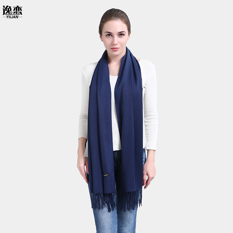 YILIAN Brand Warm Solid Women Scarf Long Tassel Cotton Blends Vintage Fashionable Designer Office Lady Scarves Promotion JMS020