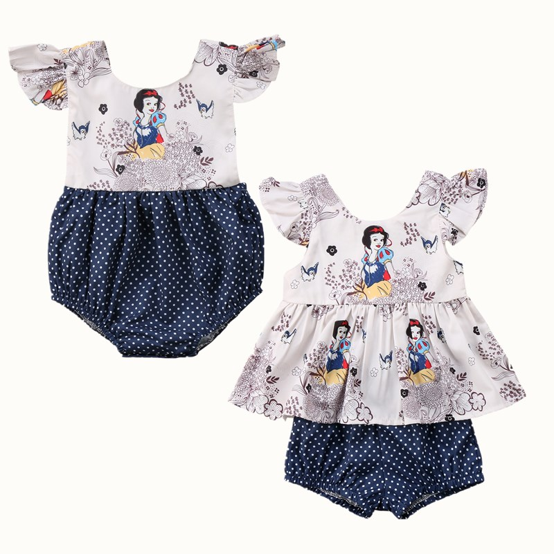 Newborn Baby Girl Kids Summer Cartoon Princess Romper Jumpsuit Clothes Sleeveless Blouse Dress Outfits Clothing Suunsuit 0-2Y 2pcs ruffles newborn baby clothes 2017 summer princess girls floral dress tops baby bloomers shorts bottom outfits sunsuit 0 24m