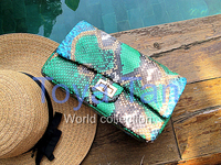 High Quality Luxury Genuine Python Skin Classic Chain Purse Multicolor Python Leather Crossbody Chain Bag