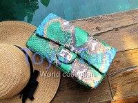Hohe qualität luxus echte python haut klassische kette handtasche multicolor python leder crossbody kette tasche