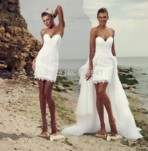 Remove Train Hi-Lo Wedding Dresses Sheath Sweetheart Applique Lace Sleeveless Up Bridal Gown yk1A572