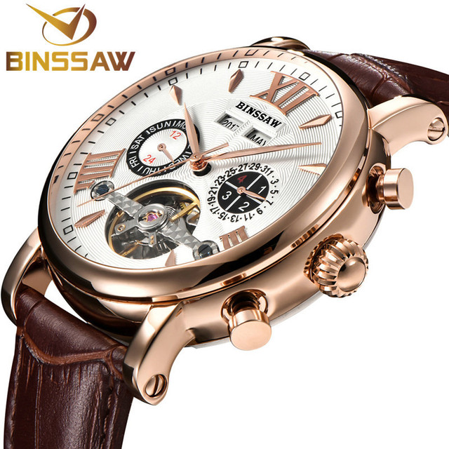 BINSSAW Men New Tourbillon Automatic Mechanical Watch Luxury Fashion Casual Brand Leather Man Week Gold Self