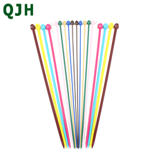 10 Pairs of 25cm 37cm Long Colorful Plastic Straight Single Pointed Knitting Needles Crochet Hooks (Size 2.0mm to 6.5mm)