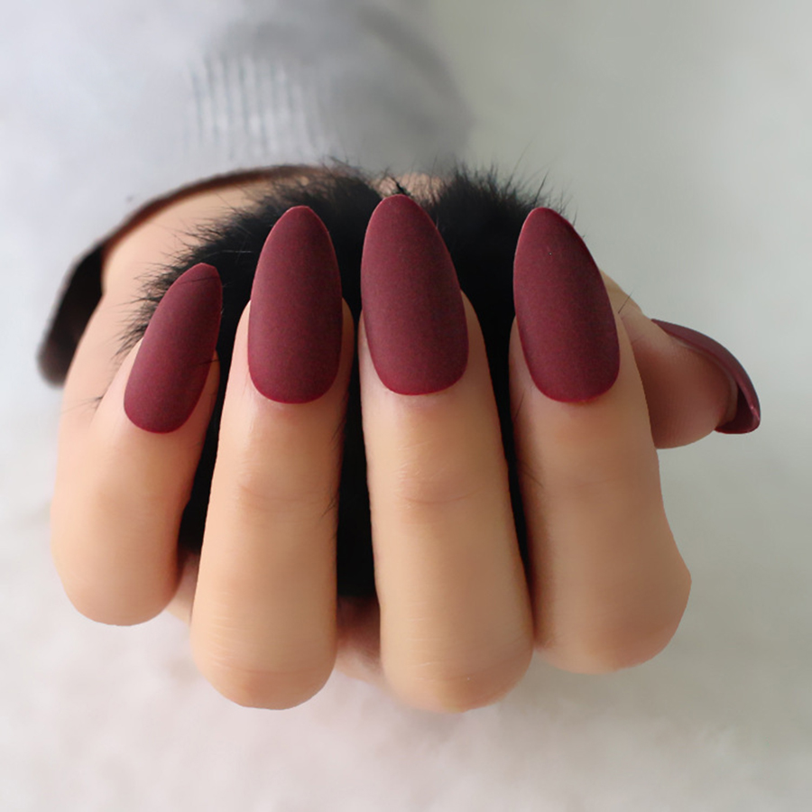 24pcs/set full cover Matte False Nail tips Sharp Pointed Soft Pink Nude Red Black Blue fake stiletto nails Pure candy colour prescription drug