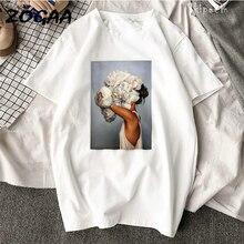 ZOGAA Women Cotton Harajuku Aesthetics T-shirt Sexy Flowers Feather Print Short Sleeve Tops & Tees Fashion Casual Couple T Shirt