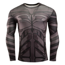 New 2017 Batman Sport T-Shirt Compression 3D Print Long Sleeve Gym Fitness Running Bodybuilding Quick Dry Plus Size Shirt Tops
