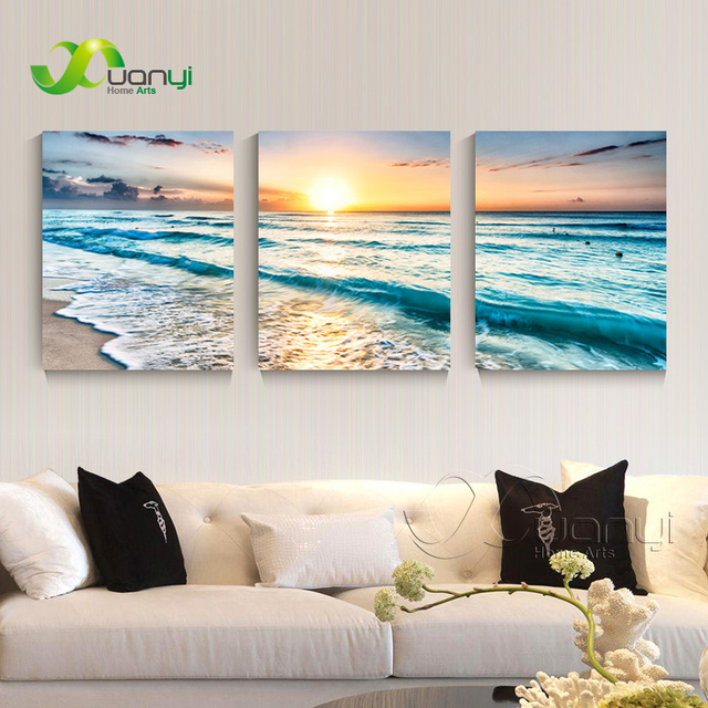 3 panel canvas art sunset seascape painting sea wave picture for bed