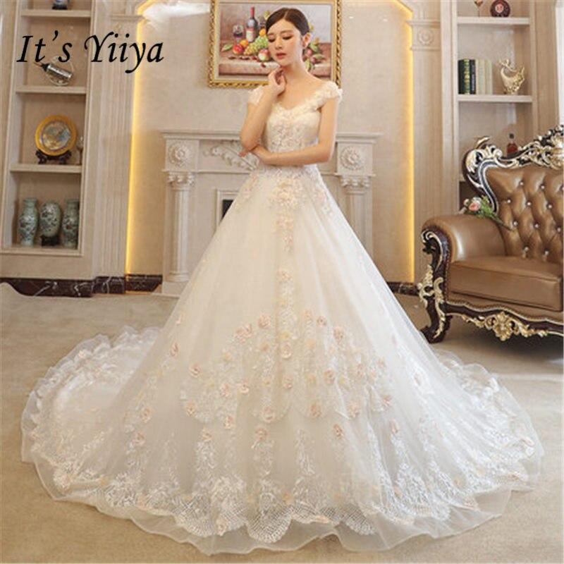 Aliexpress.com : Buy It\'s YiiYa New Beading Boat Neck Train Wedding ...
