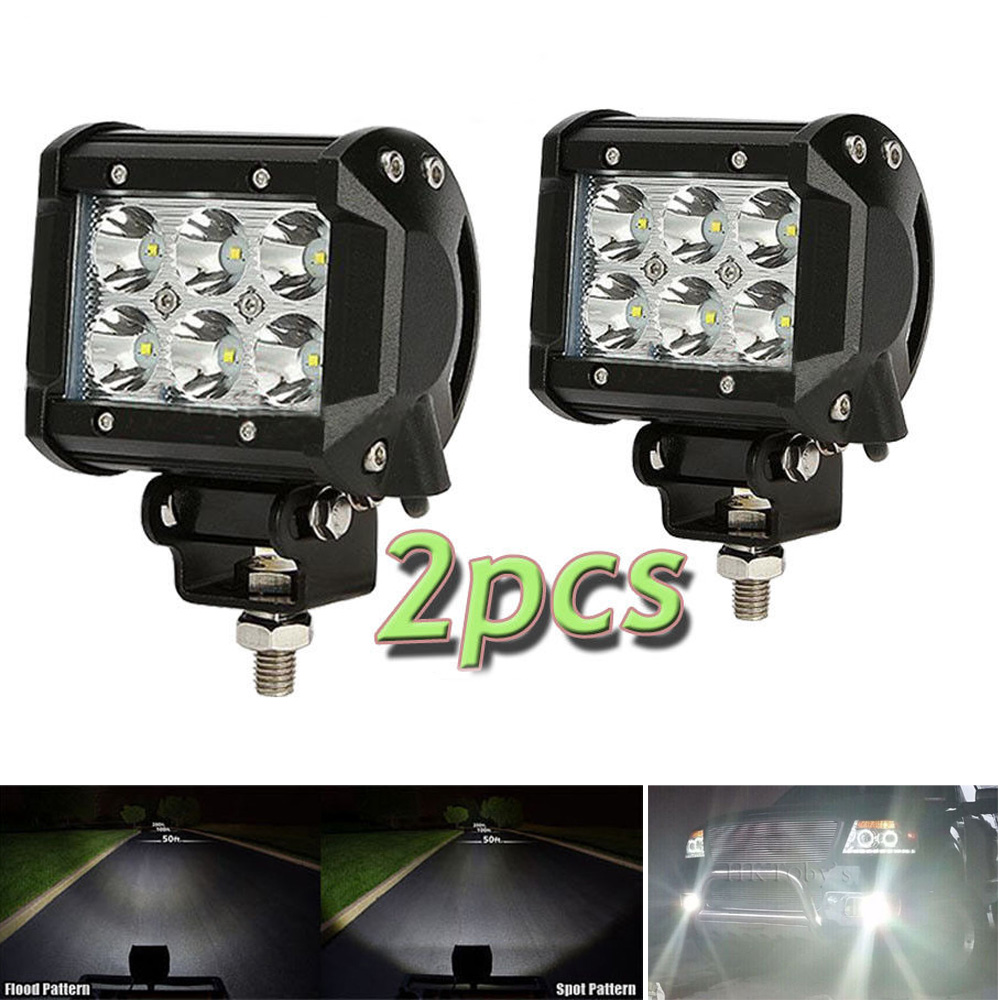 Pair 12V 24V  spot flood beam 4Inch 18W LED work Light Bar Offroad Tractor Truck 4x4 SUV ATV 4inch bar light LED tripcraft 12000lm car light 120w led work light bar for tractor boat offroad 4wd 4x4 truck suv atv spot flood combo beam 12v 24v