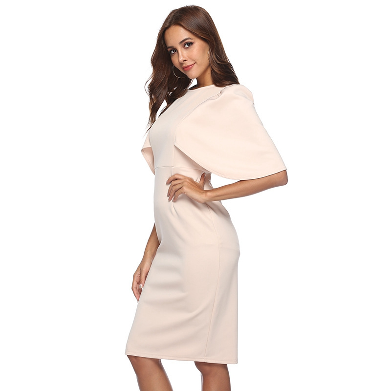 Women Elegant Ruffle Sleeve Ruched Pinup Vestidos Party Wear To Work Fitted Stretch Slim Wiggle Pencil Sheath Bodycon Dress Suit 1