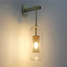 Vintage Glass Lampshade Led Wall Lamp Bedside Lamp Aisle Light Balcony Light Parlor Wall Sconce Home Decoration Free Shipping european style glass lampshade wall sconces e27 fashion retro metal base wall lamp balcony aisle bedroom bedside wall light w296