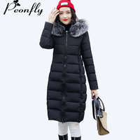 PEONFLY 2017 Reversible Plus Size Long Winter Jacket Women Hooded Thick Warm Parka For Women Fur