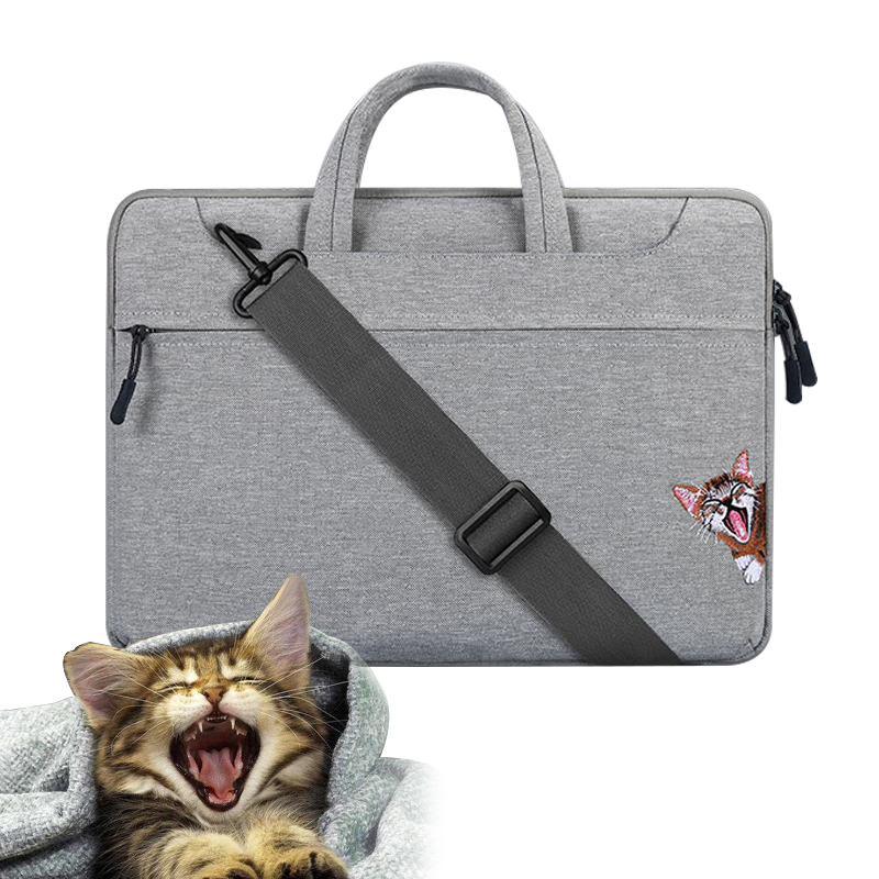 New Women Embroidery Cat Laptop Bag for Macbook Pro 13 15 Case Notebook 15.6 inch Notebook Bag Air 13 Case Waterproof 13.3 Cover