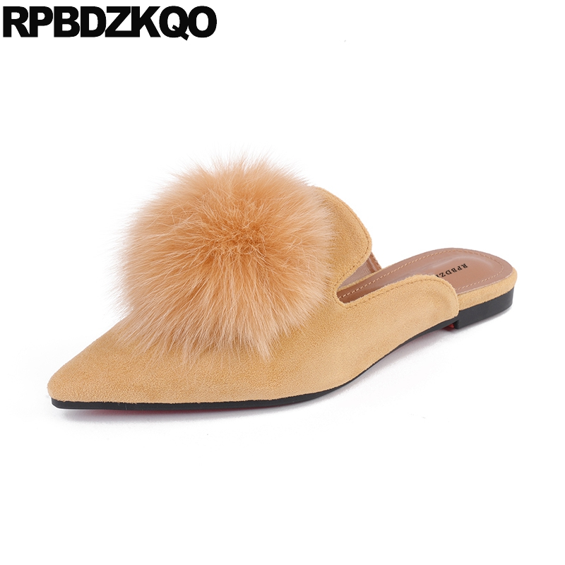 Fur Pointed Toe Flats Slip On Ladies China Chic Slides Mules Women Yellow Kawaii 2017 Cheap Shoes Suede Slippers Sandals Pom Pom fringe slip on slides yellow