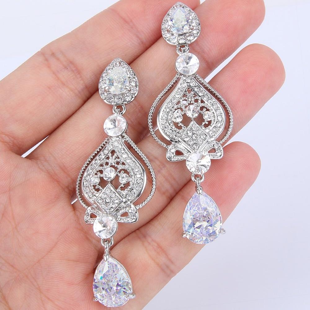 Bella Fashion Love Heart Droplet Rhombus Bridal Earrings Wedding ...