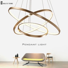 Modern Pendant Lights For Living Room Dining Room 40 60 80 Circle Rings Acrylic Aluminum Body LED Lighting Ceiling Lamp Fixtures modern pendant lights for living room dining room circle rings 3 rings 4 rings acrylic aluminum body led ceiling lamp fixtures