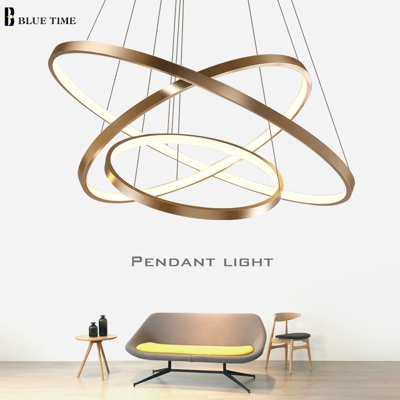 Modern pendant lights for living room dining room 4/3/2/1 Circle Rings acrylic aluminum body LED Lighting ceiling Lamp fixtures modern pendant lights for living room dining room dimming circle rings oval aluminum body led lighting ceiling lamp fixtures