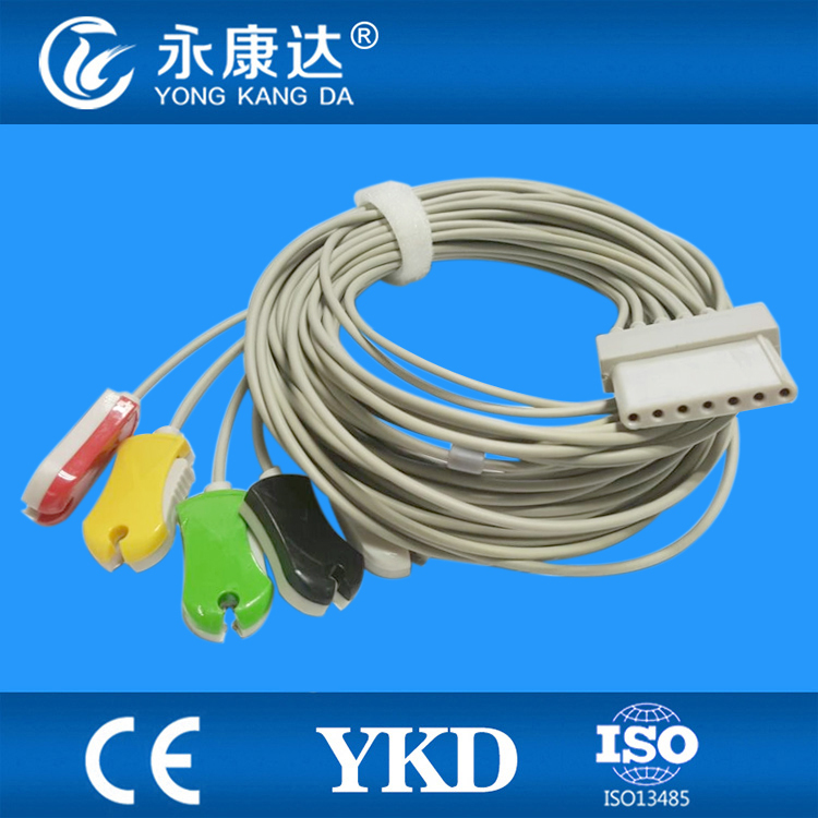 Free shipping 2PCS/Lot for 5 leads ECG cable with clip end type for Schiller LCX patient monitor