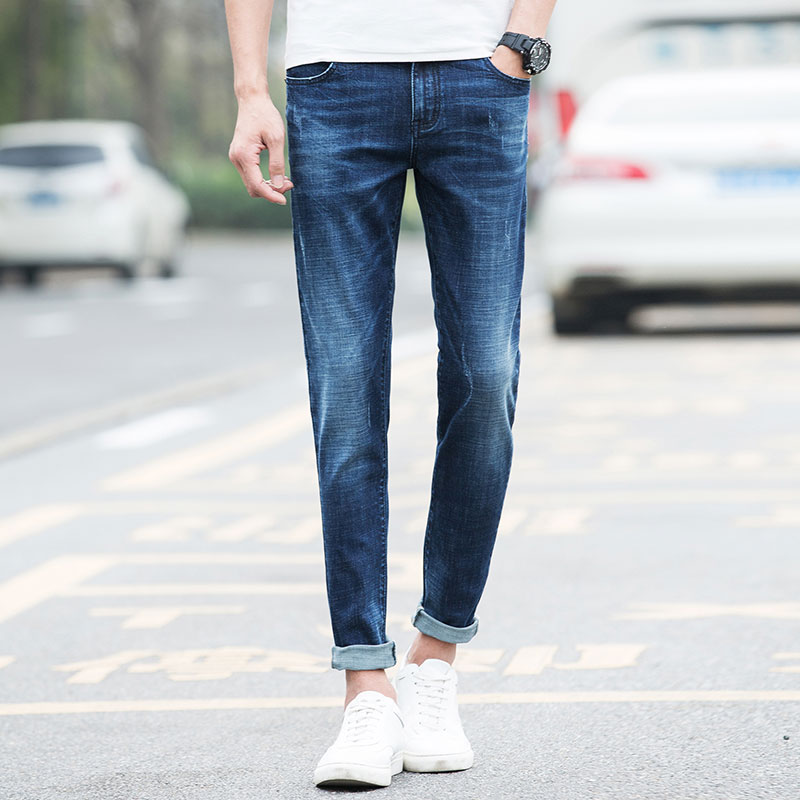 new light blue jeans men s autumn and winter models elastic thin trousers men s brand size Lycra long trousers