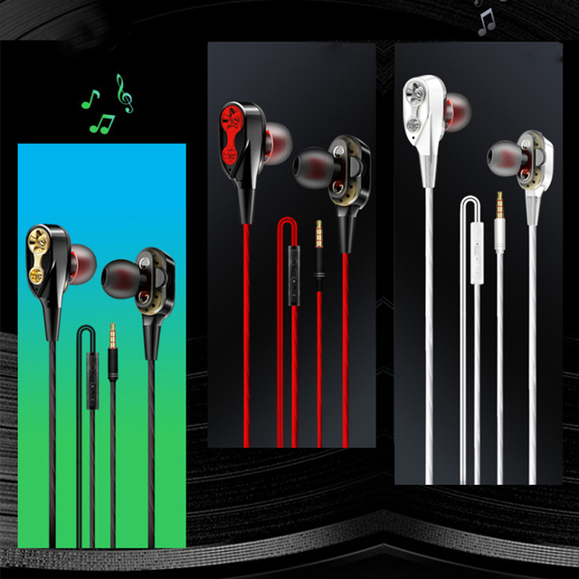 Rovtop Wired earphone High bass dual drive stereo In-Ear Earphones With Microphone Computer earbuds For Cell phone Audio Audio Electronics Electronics Head phone Headphones & Headsets color: Black|red|White