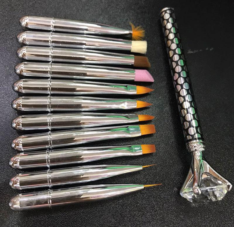 Top qualidade 11 pcs kolinsky escova, Diamond head lidar com desenho da escova da arte, kit escova de gel e acrílico. Pro ferramentas de arte do prego