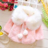 Autumn Winter Baby Girls Faux Fur Pearls Fleece Lapel Collar Infant Kids Outerwear Princess Jacket Coats roupas de bebe casaco