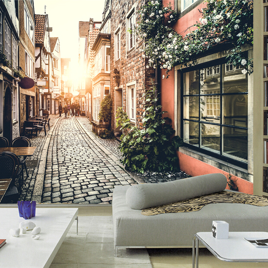 European town street TV background wall paper living room Coffee hall wallpaper large mural 3D European old time free shipping custom 3d mural retro european buildings in paris coffee hall the television background wall wallpaper