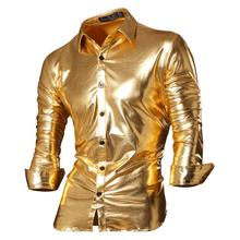 Jeansian Mens Fashion Dress Casual Shirts Button Down Long Sleeve Slim Fit Designer Z036 Gold2