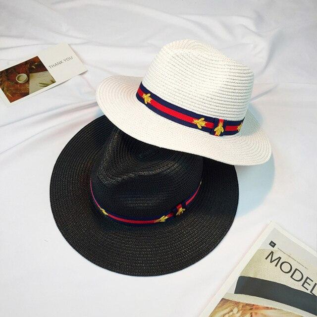 HT922 2017 Новая Мода Летние Соломенные Шляпы женщин Широкими Полями Вс шляпы Мужчины Fedora Шляпа Бандитский Cap Летний Пляж Соломенная Шляпа-Панама