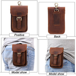 Image 4 - MISFITS 2019 NEW Genuine Leather Vintage Waist Packs Men Travel Fanny Pack Belt Loops Hip Bum Bag Waist Bag Mobile Phone Pouch