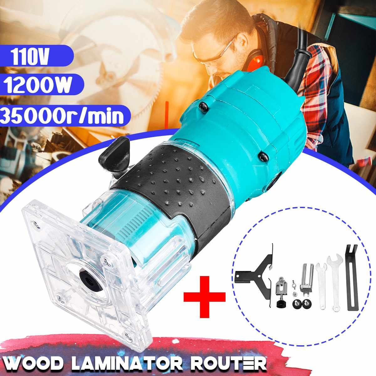 110V 1200W 35000r/min Electric Hand Trimmer Wood Laminator Router Edge Joiners 1/4 Inch Carving Machine Edge Trimmer Power Tools