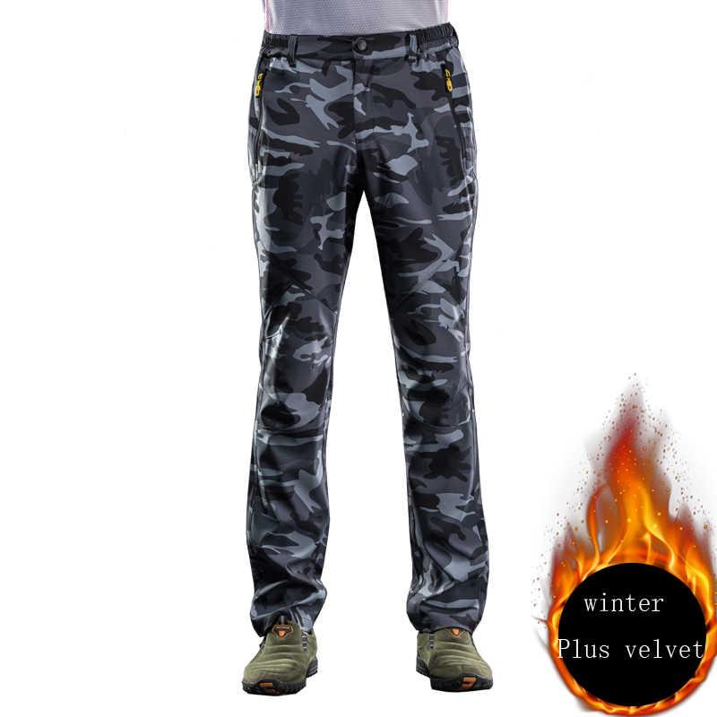 Осень-зима, мужские эластичные камуфляжные штаны, уличные брюки для мужчин и женщин, быстросохнущие брюки-Капри, мужские походные и походные брюки