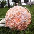 Pink Bridal Bouquets 2016 Handmade Artifical Roses with Ribbon Beautiful Pearls Wedding  Brooch Bouquet Wedding Accessories