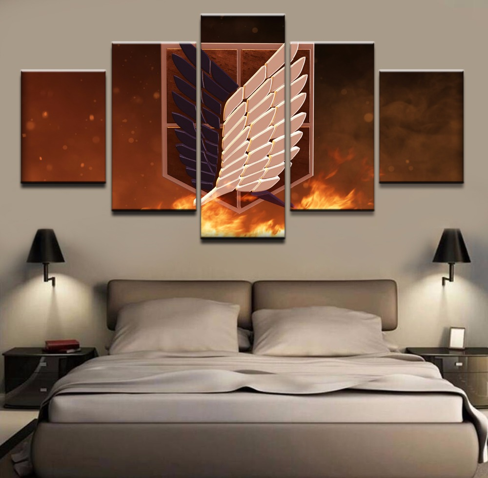 5 Pieces Anime Attack on Titan survey corps Canvas Wall Art For Living Room Artwork Modern Home Decor Picture HD Print Painting in Painting Calligraphy from Home Garden