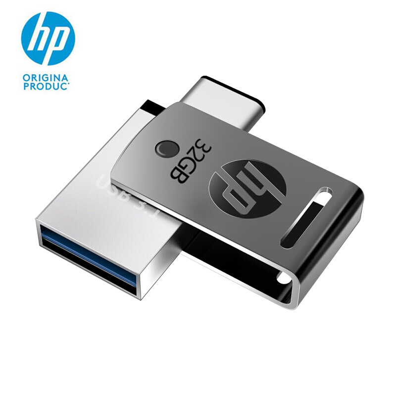 Original HP X5000M USB 3.1 Metallic Swivel Flash Drive 32GB OTG Pen Engraved DIY LOGO Type-C 32g Pen Drive Pendrive Cle USB 3.0