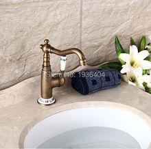 Высокое качество античная латунь готовые кран смесители бортике роскошный внешний вид с фарфор torneira banheiro AF1069
