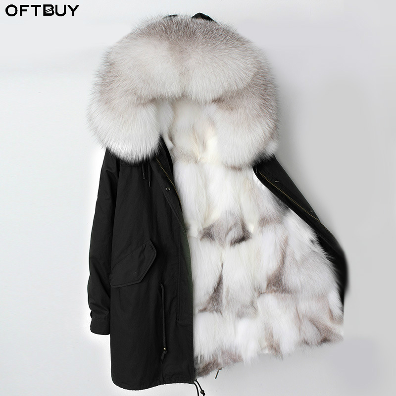OFTBUY 2019 Long Parka Winter Jacket Women Real Fox Fur Collar Hood Natural Fox Fur Liner Outerwear Detachable Streetwear Brand