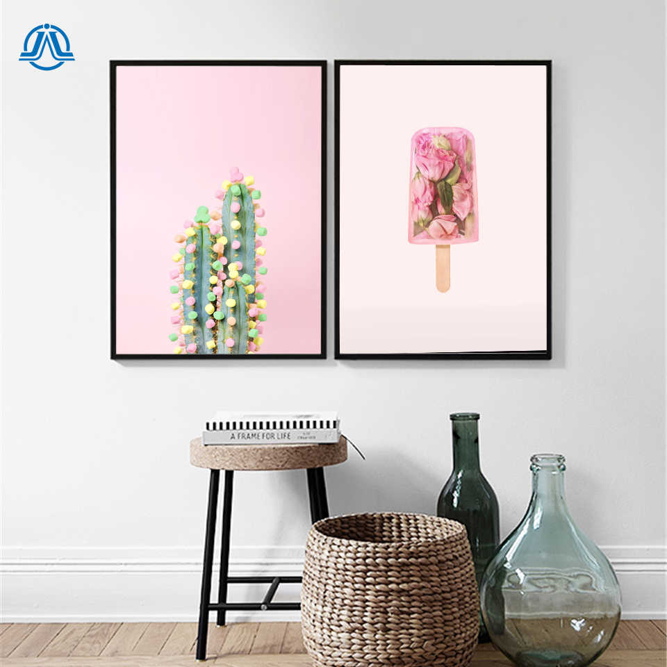 Rose Ice lolly Cotton Candy Cactus Kids Room Posters Pink Wall Art Canvas Painting Girls Nursery Pictures Room Decor No Frame