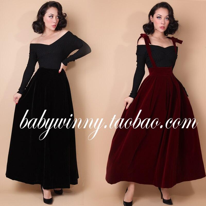 021f3e74e85 20- le palais vintage 50s velvet braces long maxi skirt in black burgundy plus  size