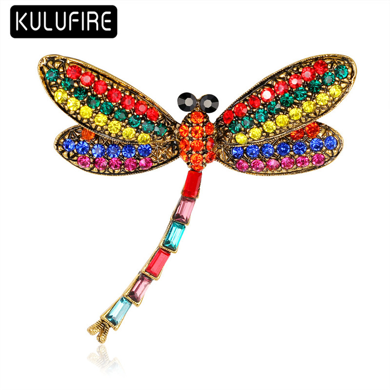ᗑKulufire patrón libélula broches grandes para las mujeres Lapela ...